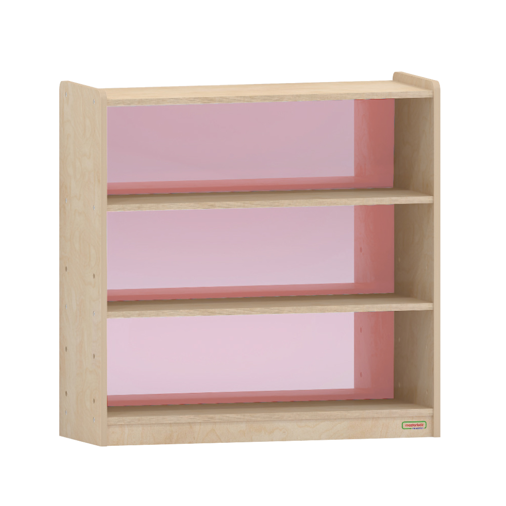 ME08336-800H x 800L 彩色透視耐刮背板三層櫃-紅色
