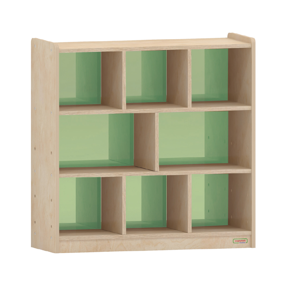 800H x 800L 彩色透視耐刮背板八格櫃-綠色_800H x 800L 8 Compartment Shelving Unit - Translucent Green Back_ME10742