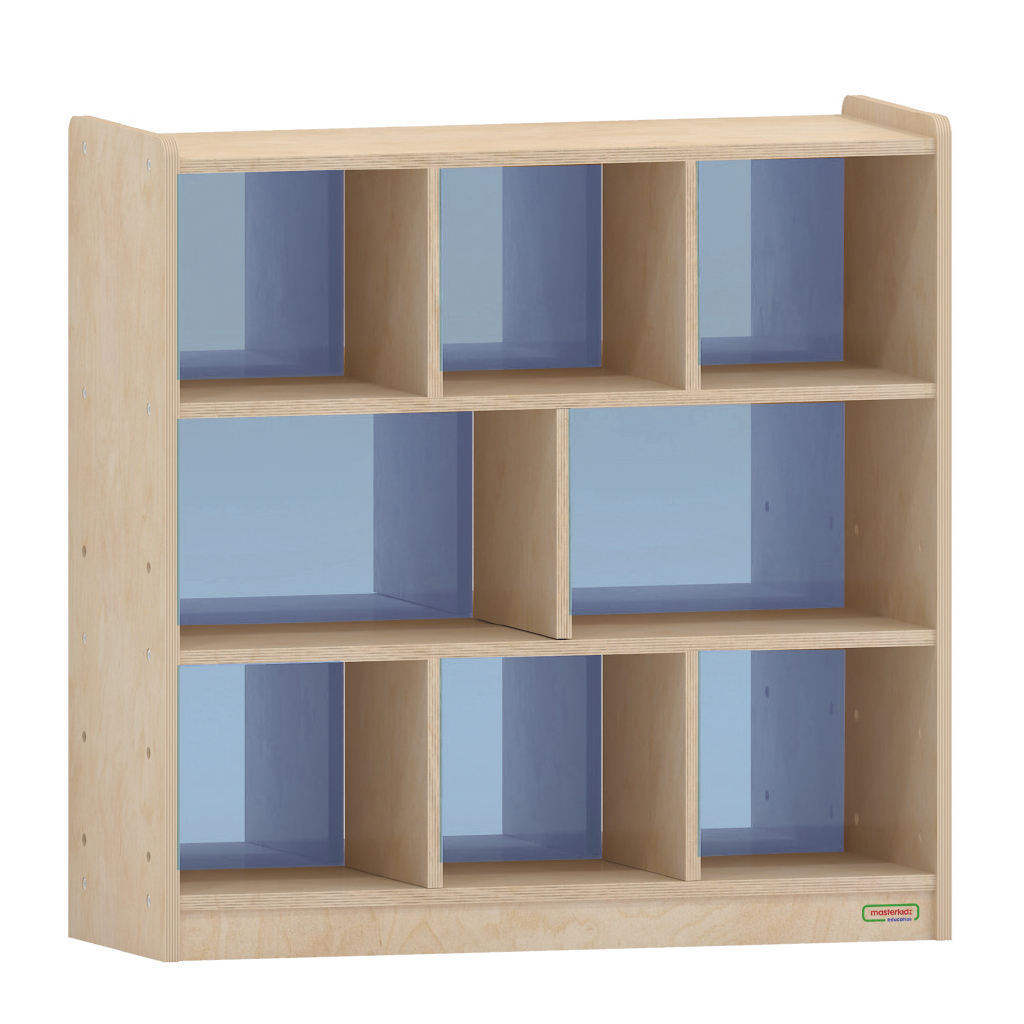 800H x 800L 彩色透視耐刮背板八格櫃-籃色_800H x 800L 8 Compartment Shelving Unit - Translucent Blue Back_ME10759