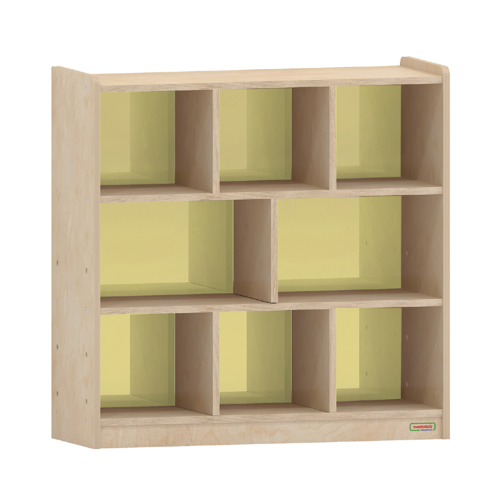 800H x 800L 彩色透視耐刮背板八格櫃-黃色_800H x 800L 8 Compartment Shelving Unit - Translucent Yellow Back_ME11060
