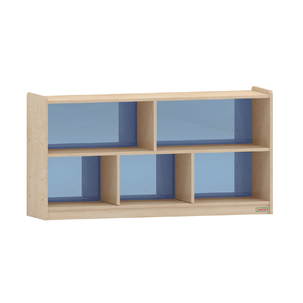 620H x 1200L 彩色透視耐刮背板五格櫃-籃色_620H x 1200L 5-Compartment Shelving Unit - Translucent Blue Back_ME12180