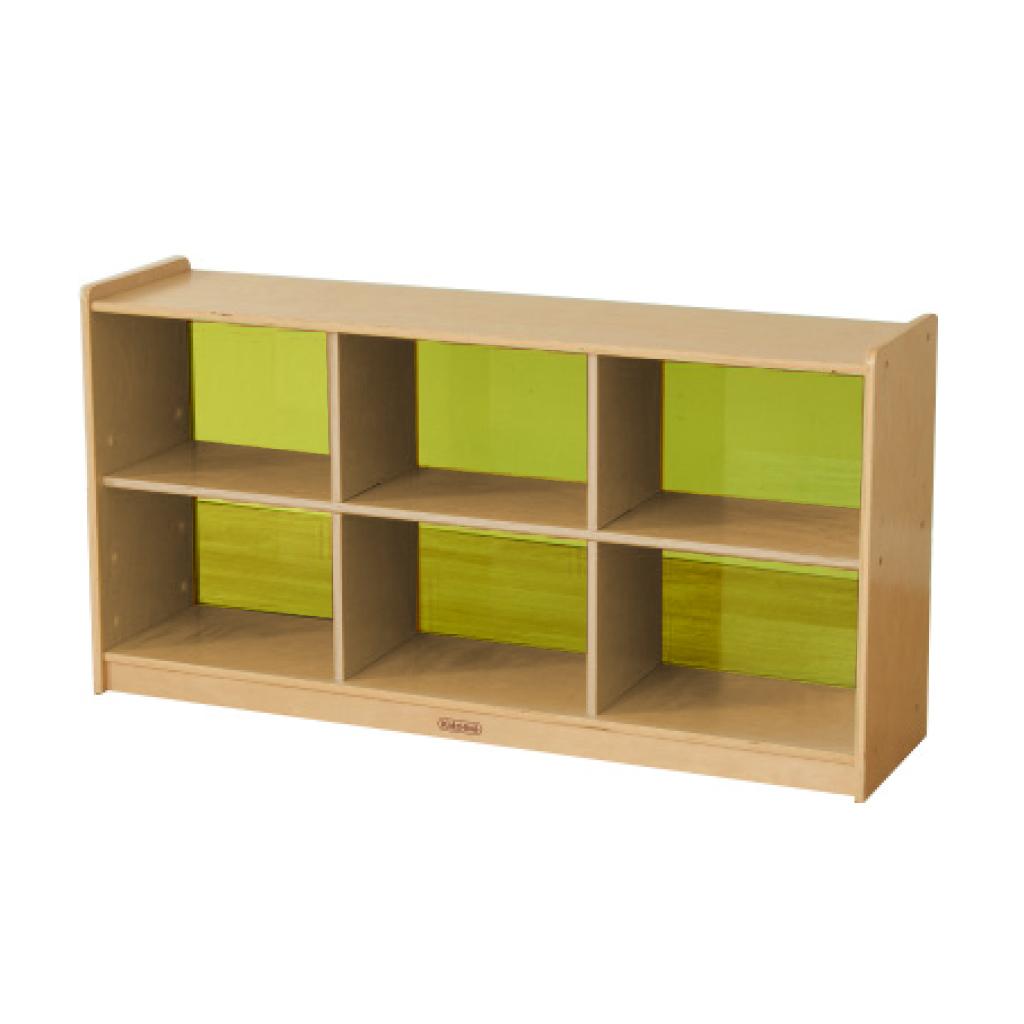ME12227-620H x 1200L 彩色透視耐刮背板六格櫃-黃色