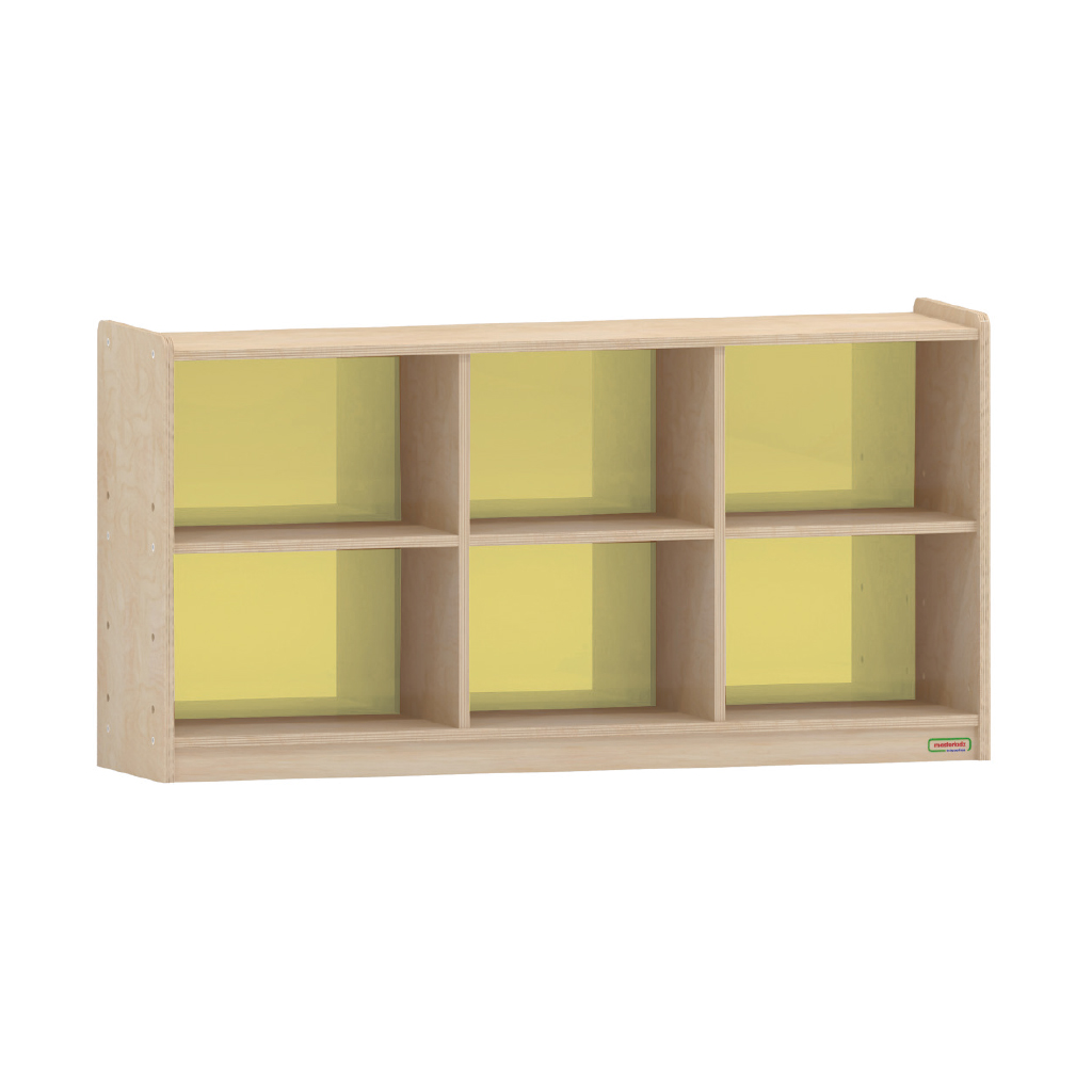 620H x 1200L 彩色透視耐刮背板六格櫃-黃色_620H x 1200L 6-Compartment Shelving Unit - Translucent Yellow Back_ME12227
