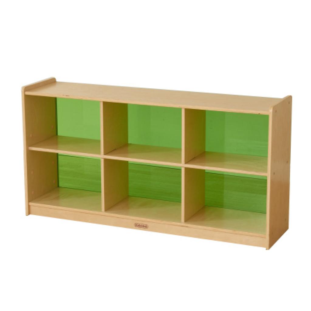 ME12234-620H x 1200L 彩色透視耐刮背板六格櫃-綠色
