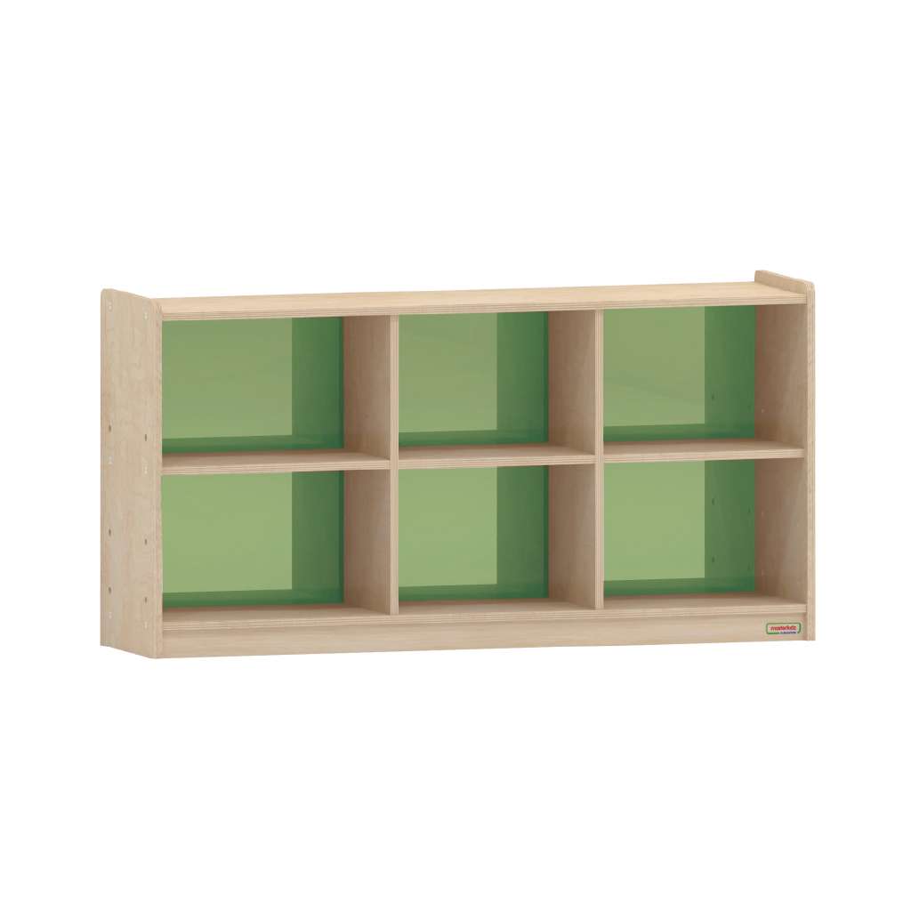 620H x 1200L 彩色透視耐刮背板六格櫃-綠色_620H x 1200L 6-Compartment Shelving Unit - Translucent Green Back_ME12234