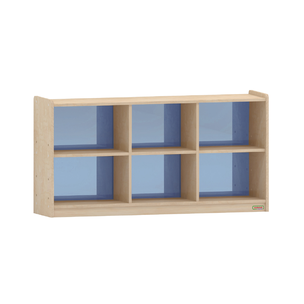 620H x 1200L 彩色透視耐刮背板六格櫃-籃色_620H x 1200L 6-Compartment Shelving Unit - Translucent Blue Back_ME12241