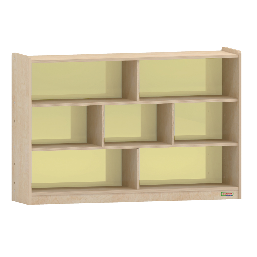 800H x 1200L 彩色透視耐刮背板七格櫃-黃色_800H x 1200L 7 Compartment Shelving Unit - Translucent Yellow Back_ME12340