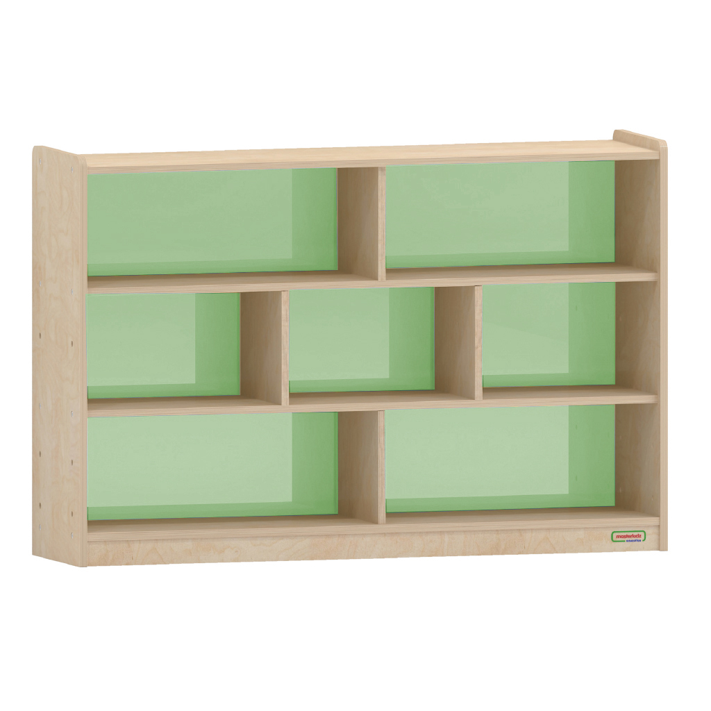 800H x 1200L 彩色透視耐刮背板七格櫃-綠色_800H x 1200L 7 Compartment Shelving Unit - Translucent Green Back_ME12357