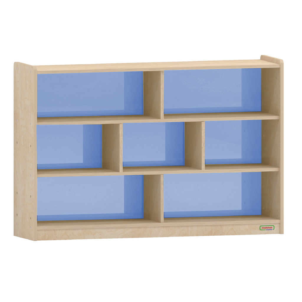 800H x 1200L 彩色透視耐刮背板七格櫃-籃色_800H x 1200L 7 Compartment Shelving Unit - Translucent Blue Back_ME12364