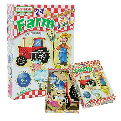 MK06066-木製迷你拼圖盒裝 - 農場